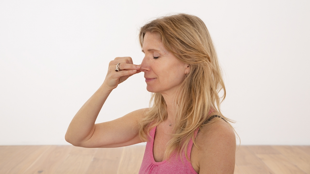 Esther Ekhart practising Alternate Nostril breathing