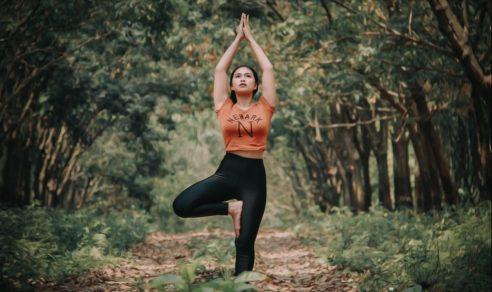 Tree pose yoga nature