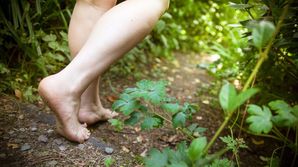 walking in bare feet
