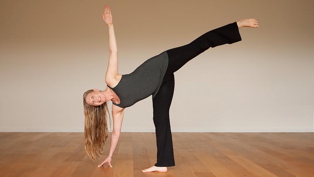 lisa petersen half moon pose yoga practice