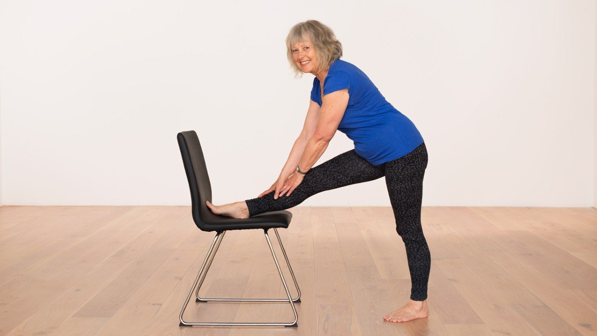 Hamstring stretch half splits with a chair