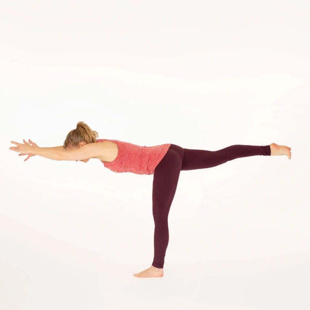 Warrior 3 pose variation Esther Ekhart Yoga