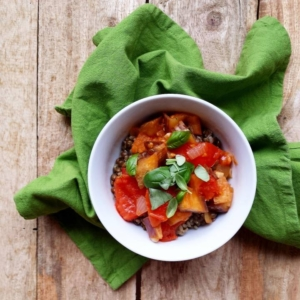Eggplant with tomatoes, rice and puy lentils
